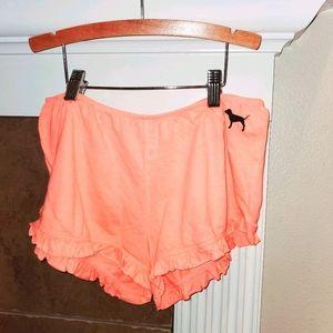 VICTORIA'S SECRET PINK Pajama Ruffle Edge Shorts